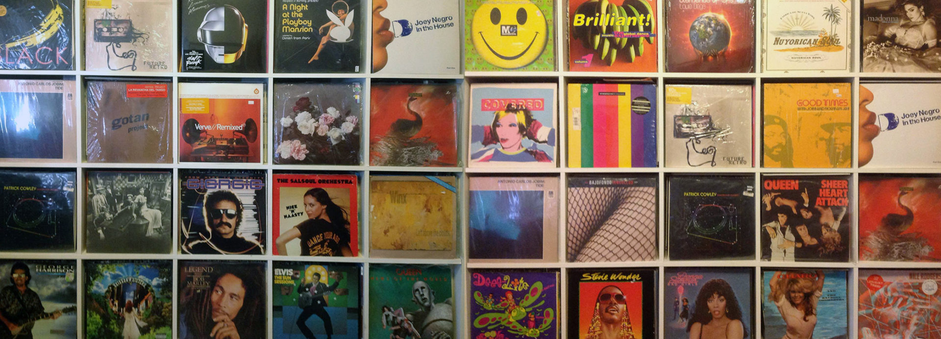 A large collection of vinyl record album covers